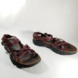Keen Burgundy Strappy Anatomic Footbed Sandals